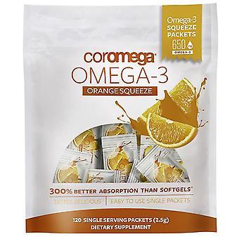 Coromega, Omega-3, Orange Squeeze, 120 Packets, (2.5 g) Each