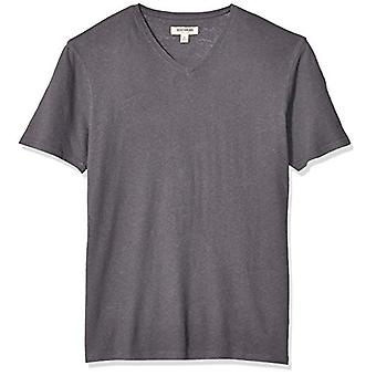 Goodthreads Men's Linen Cotton V-Neck T-Shirt, Dark Grey, Large