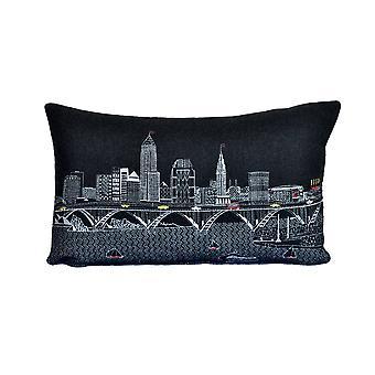Spura Home Cleveland impresión pictórica skyline contemporáneo lana día / noche cojín