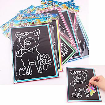 Lapsi Lapset Magic Scratch Art Doodle Pad Maalaus Kortit Lelut Early Educational Learning Piirustus Lelut