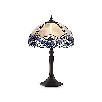 Luminosa Beleuchtung - 1 Licht achteckige Tischleuchte E27 mit 30cm Tiffany Schatten, blau, klar Kristall, alteralter antiker Messing