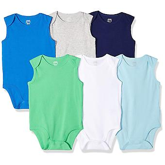 Essentials Baby Boys 6-Pack Ærmeløs Bodysuits, Solid Blue & Green, ...