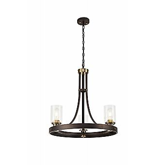 Elsie Pendant 3 Light E27, Brown Oxide/bronze With Clear Glass Shades