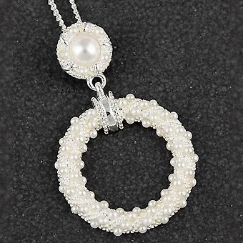 Modern Pearl Hanging Loop Silver Plated Necklace - Gift Boxed