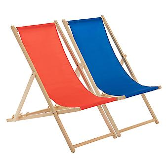 Traditional Adjustable Beach Garden Deck Chairs - Red / Royal Blue