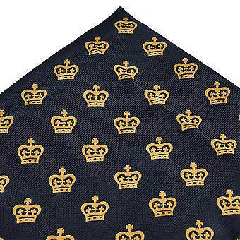 Bånd Planet Gold Crown Navy Blue Pocket Square lommetørklæde