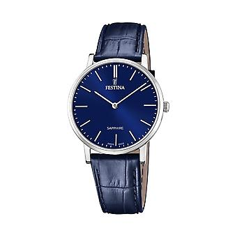 Festina Swiss F20012-3 Men's Swiss Made Blue Leather Wristwatch