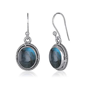 ADEN 925 Sterling Silver Labradorite oval Shape Earrings (id 2866)