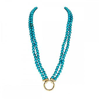 Nikki Lissoni Magnesite Turquesa 48 centímetros ouro banhado colar frisado N1003G48