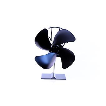 Heat Powered Stove Fan 4 Blades With Thermometer  (black)