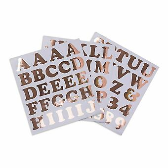 Grand Alphabet Stickers chiffres et lettres Rose or 71 autocollants Craft