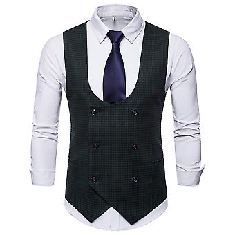 YANGFAN Mens Double-Breasted Houndstooth Suit Vest Casual U-Neck Waistcoat