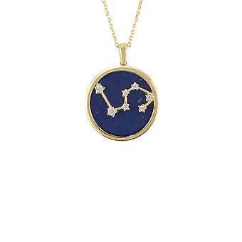 Zodiac Lapis Blue Gemstone Star Pendant Necklace Gold Leo July