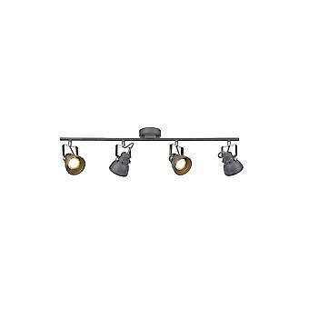 Doyle Adjustable Bar Spotlight, 4 X Gu10 (max 10w Led), Matt Grey/polished Chrome