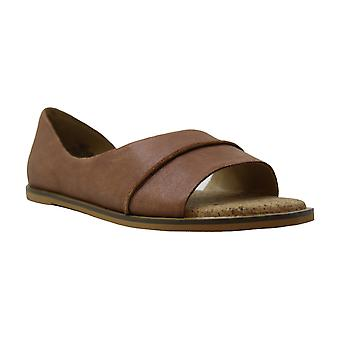 Lucky Brand Womens Fentin2 Leather Open Toe Slide Flats