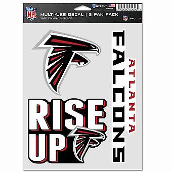 NFL Sticker Multi-Use Set av 3 20x15cm - Atlanta Falcons