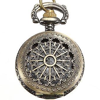 DEFFRUN Vintage Steam Punk Quartz Bronze Necklace Pocket Watch