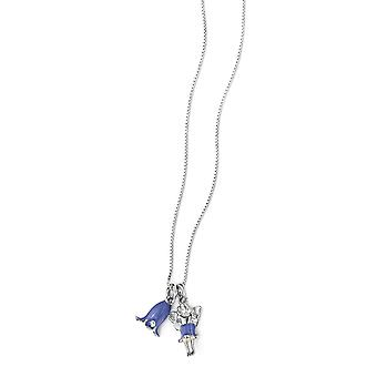 Sterling silver diamond bluebell & fairy necklace