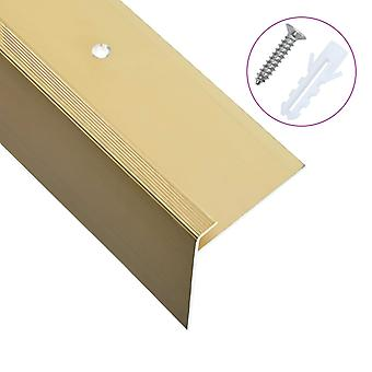 Stair edges in F-shape 15 pcs. aluminium 134 cm Golden
