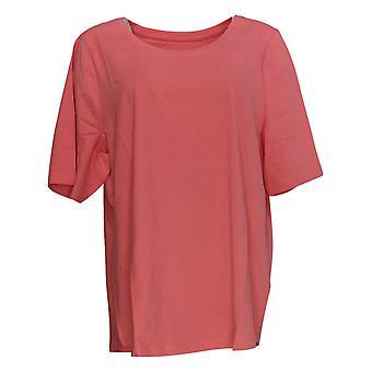 Denim & Co. Kvinder's Top kort ærme Scoop Neck Pink A378932