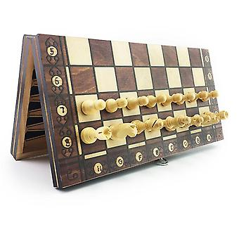 Super Magnetic Wooden Chess Backgammon Checkers Game, Ancient Travel Set
