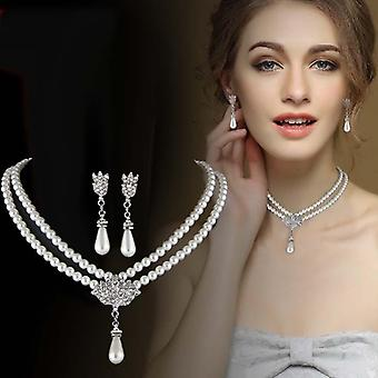Bride Pearl Crystal With Short Collarbone Neck Necklace Set Earrings Korean