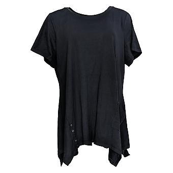LOGO by Lori Goldstein Women's Plus Top Cotton Modal Knit Blue A301072
