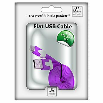 GVC 1m Strong Tangle Free Flat USB Cable for iPhone - Purple