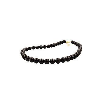 Halskette Perlen 10mm schwarz glänzend 60cm