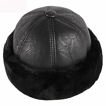 Thick Warm Winter Hat, Men Fur Leather Russian Bomber Windproof Snow Ski Cap