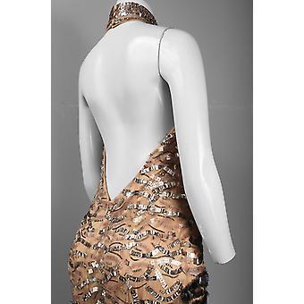 Cutaway hombro bajo espalda quemada Paillette serpiente vestido de seda