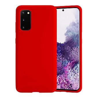 HATOLY Samsung Galaxy M21 Silicone Case - Soft Matte Case Liquid Cover Red