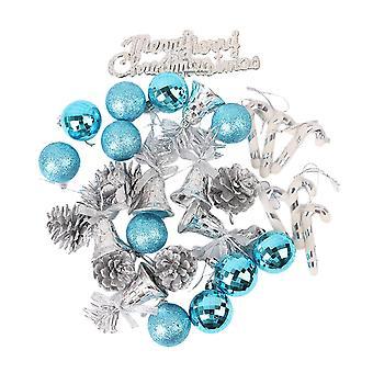 32pcs Blue Christmas Tree Ball Ornaments Hanging Set for Xmas Tree Holiday Party