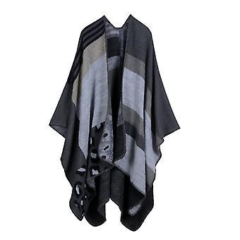 Women's Autumn And Winter Plus Size Leopard Print Black Warm Scarf Blanket Shawl