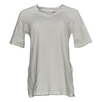 Isaac Mizrahi Live! Women's Top SOHO V-Neck Elbow-Sleeve White A365198