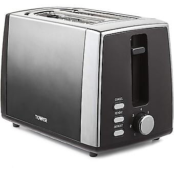 Tower T20038GRP Ombre 2 Slice Toaster, 7 Settings, Removable Crumb Tray, 900 W