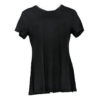 H By Halston Women's Top Essential Short Slv Tunika Side Slids Sort A306076