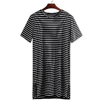 Fashion Striped Underwear Pajama Summer Sleep Tops Loose Short Sleeve Lounge