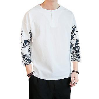 YANGFAN Men's Printed Color Block T-shirt