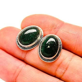"Green Aventurine Earrings 3/4"" (925 Sterling Silver)  - Handmade Boho Vintage Jewelry EARR411043"