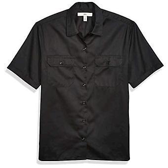 أساسيات الرجال & apos;ق بقعة قصيرة الأكمام والتجاعيد مقاومة قميص العمل