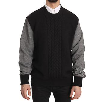 Black Gray Wool Crewneck Pullover Sweater
