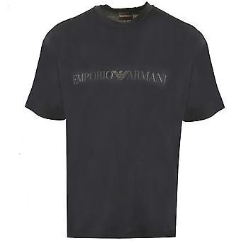 Emporio Armani EA Eagle Logo Printed Navy T-Shirt