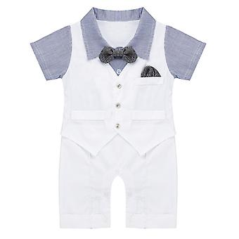 Infant Boys Short Sleeve Bowtie Gentleman Romper Outsuit 6Months