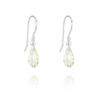 Silver swarovski crystal white ab teardrop earrings
