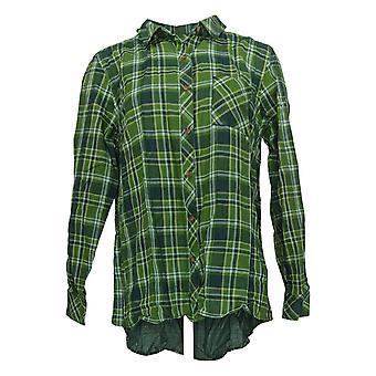 Isaac Mizrahi En direct! Femmes & s Top TRUE DENIM Plaid Shirt Vert A384139