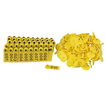 100 Sets Yellow 1-100 Number Plastic Livestock Ear Tag For Goat Sheep Pig