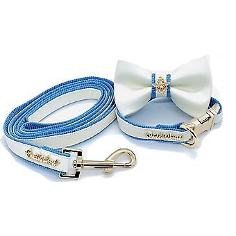 Guinzaglio designer in pelle bianca e blu