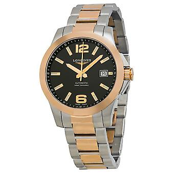 Longines Conquest Automatic Black Dial Rose Gold and Stainless Steel Men's Watch L36765567