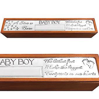 Baby Boy fødselsattest Holder Box